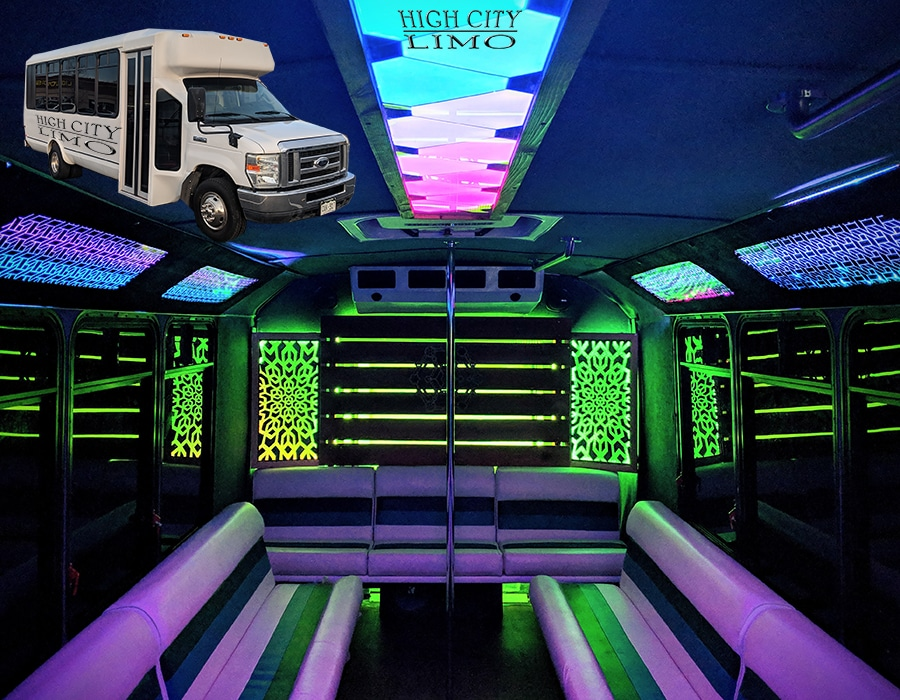 23 passenger party bus Denver