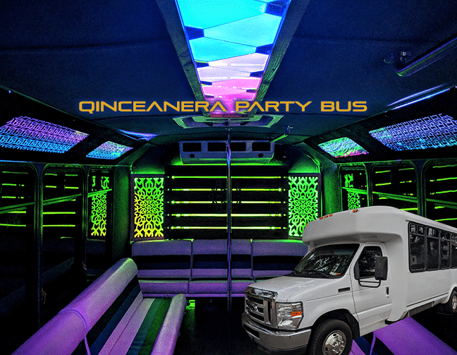 Inside of quinceanera party bus